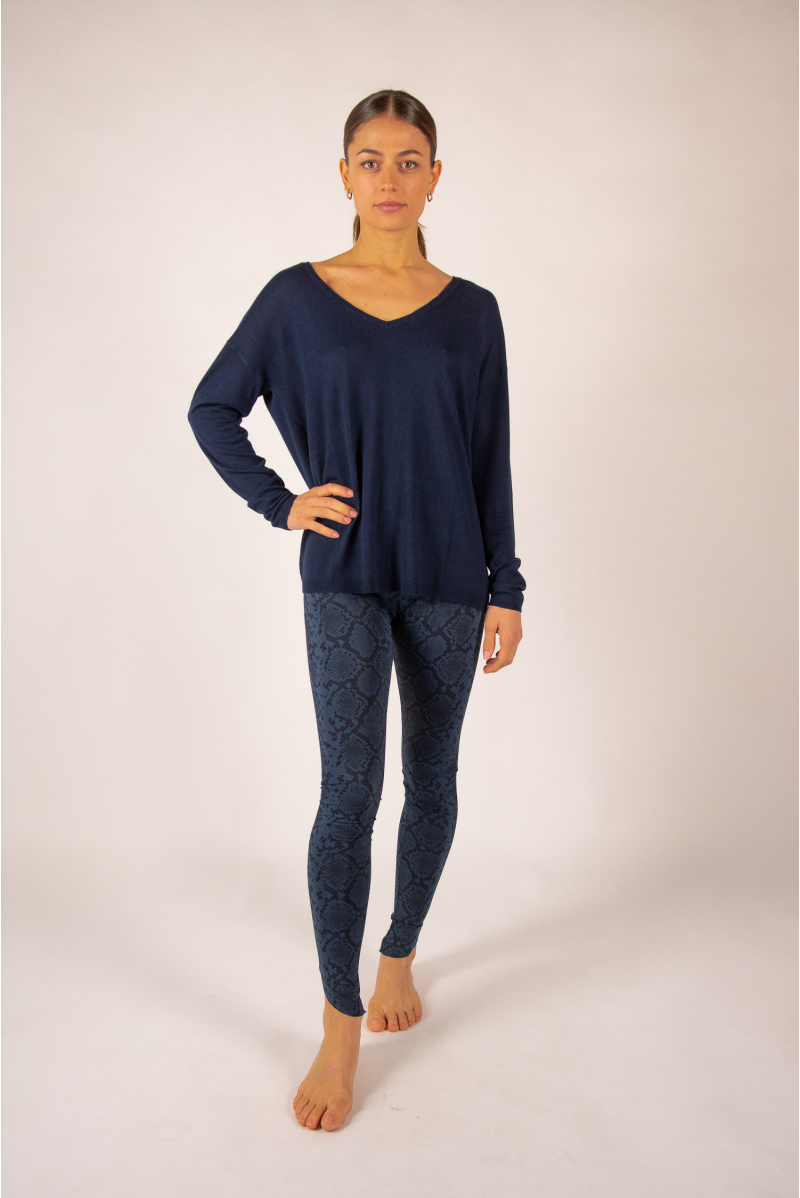 Pull V bambou cachemire Clementine Absolut Cashmere nuit