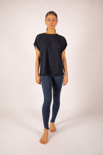 Short sleeve top Majestic Filatures navy