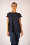 Majestic Spinning Navy short-sleeved top with boat collar