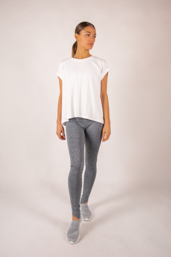Top manches courtes col rond Majestic Filatures blanc