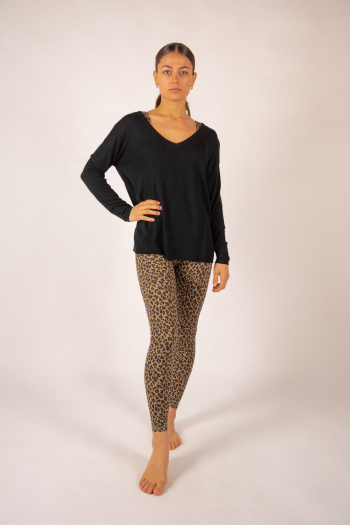 Pull V bambou cachemire Clementine Absolut Cashmere noir