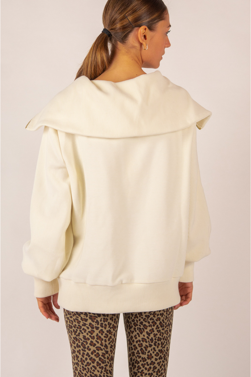 Wayne Zipped Collar Sweatshirt Varley Ivory