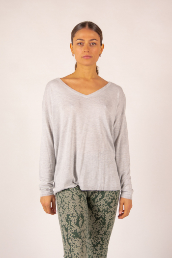 Pull V bambou cachemire Clementine Absolut Cashmere gris chiné