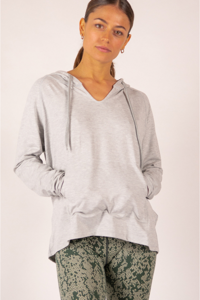 Hoodie Majestic Filatures mottled grey