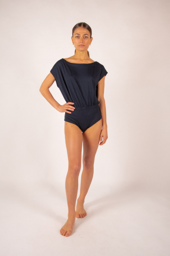 Women's body with boat neck Majestic Filatures navy