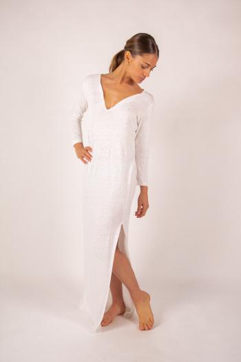 Robe longue en lin Majestic Filatures blanc