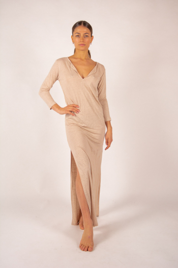 Robe longue en lin Majestic Filatures sable