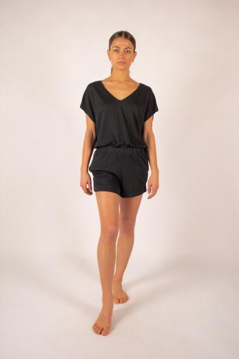 Majestic Filatures black linen shorts