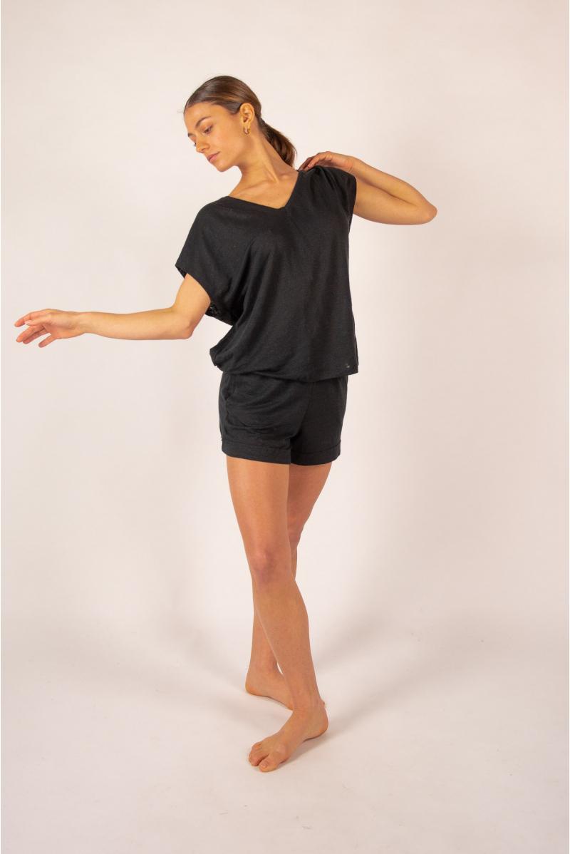 T-shirt V en lin Majestic Filatures noir