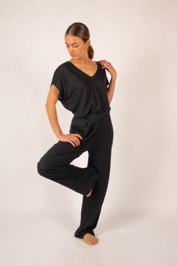Pantalon en lin Majestic Filatures noir