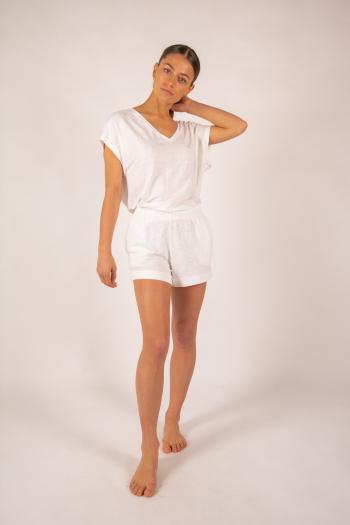 Short en lin Majestic Filatures blanc