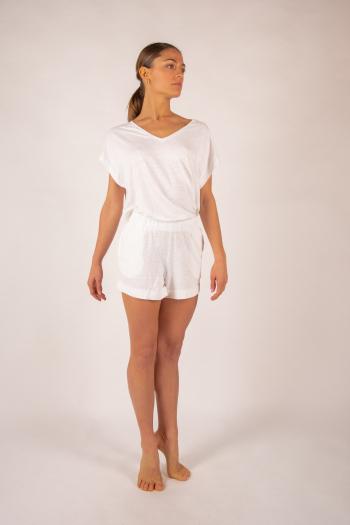 T-shirt V in linen Majestic Filatures white