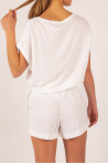 T-shirt V en lin Majestic Filatures blanc