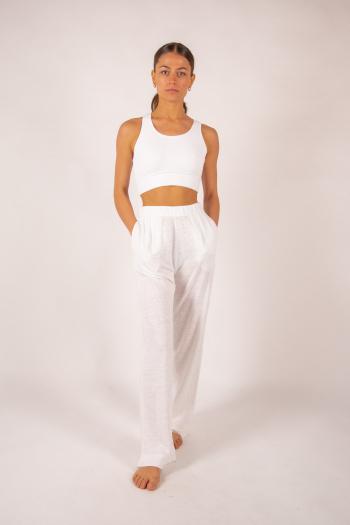 Pantalon en lin Majestic Filatures blanc