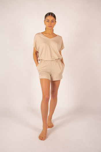 T-shirt V in linen Majestic Filatures sand