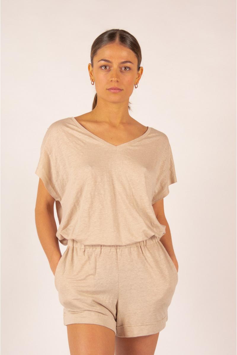 T-shirt V en lin Majestic Filatures sable