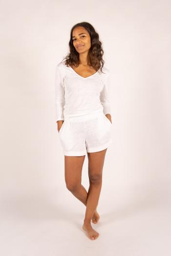 T-shirt manches longues en lin Majestic Filatures blanc