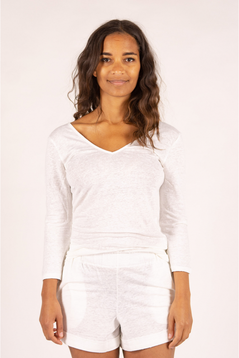 Long-sleeved T-shirt in Majestic Filatures white linen