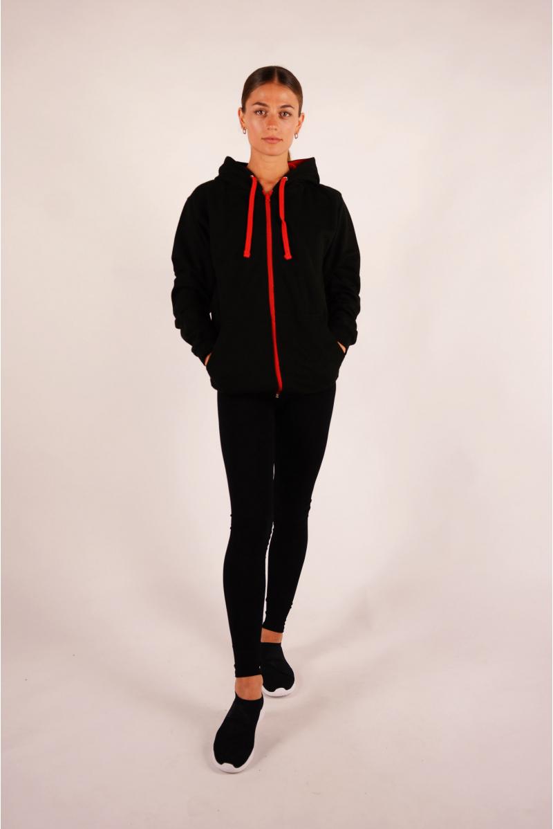 Veste à capuche Varsity noire et rouge