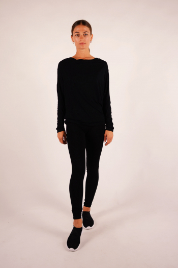 Cowl neck T-shirt Majestic Filiatures black