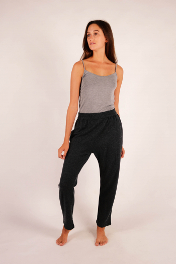 Silk and cashmere pants Majestic Filatures Anthracite ch/Grey ch