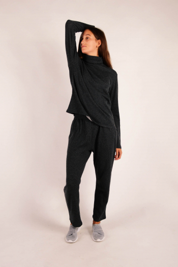 Long sleeve turtleneck Majestic Filatures Anthracite ch/Grey ch
