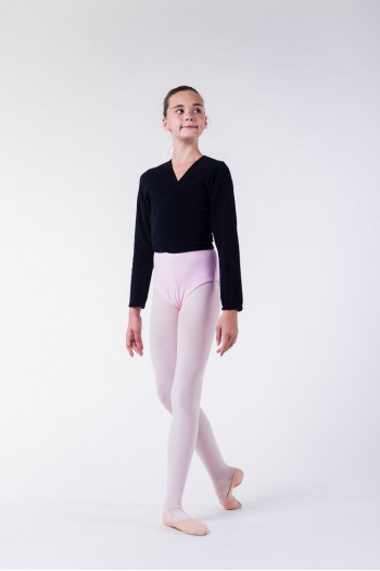 Repetto black fleece wrap-over top D105