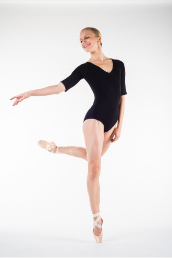 Temps Danse Black Maddy half sleeves leotard