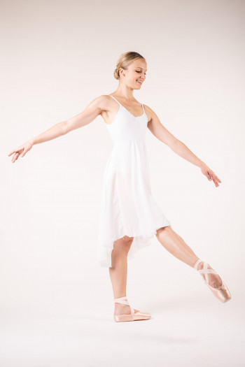 MDA white women dress leotard close front