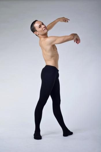 Collant de danse homme ballet rosa microfibre noir