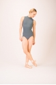 Capezio turtle neck grey leotard